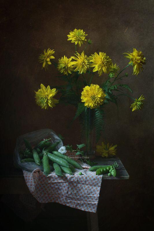 натюрморт, цветы, букет, золотые шары, рудбекия, горох, июль *photo preview