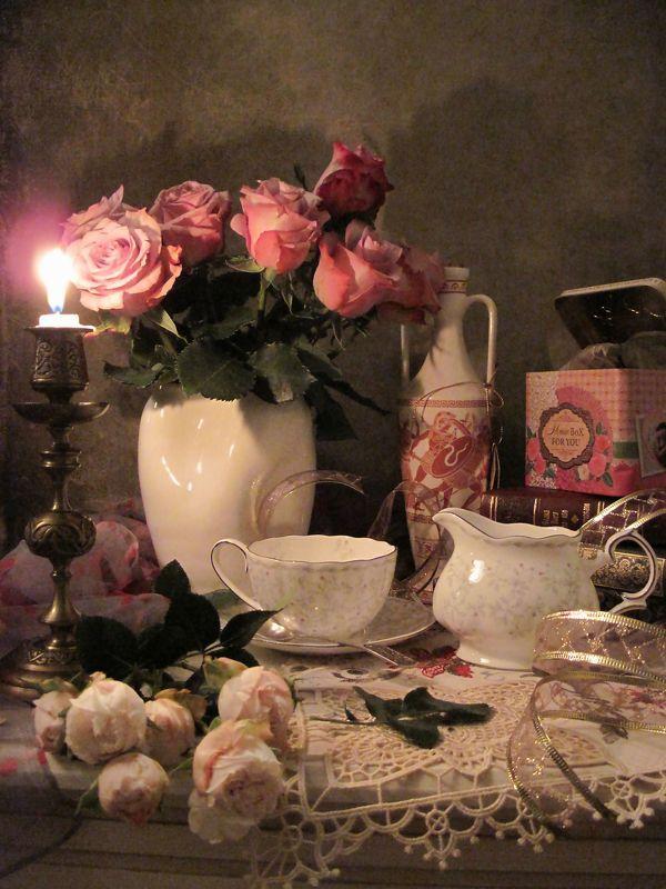 цветы, букет, розы, фарфор, подсвечник, свеча Ночные посиделкиphoto preview