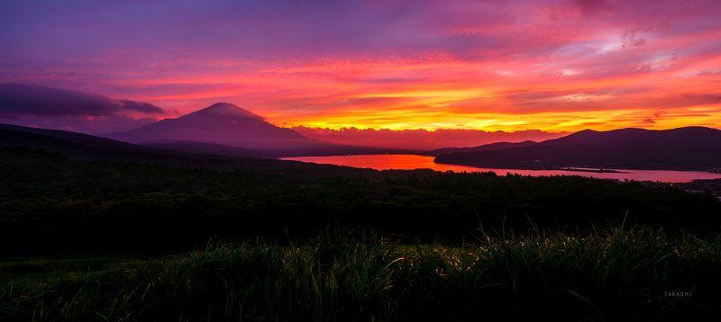 Fuji Japan mountain sunset clouds lake red amazing beautiful Spectacular sunsetphoto preview