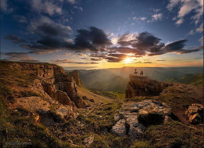 бермамыт, закат, горы, кавказ, эльбрус Лезгинка над облаками...photo preview