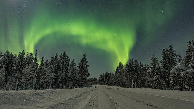 Ночь, Северное сияние, Арктика, Кольский полуостров Ворота в Арктикуphoto preview