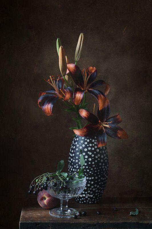 натюрморт, цветы, лилия, лилия paris heart, черемуха ***photo preview