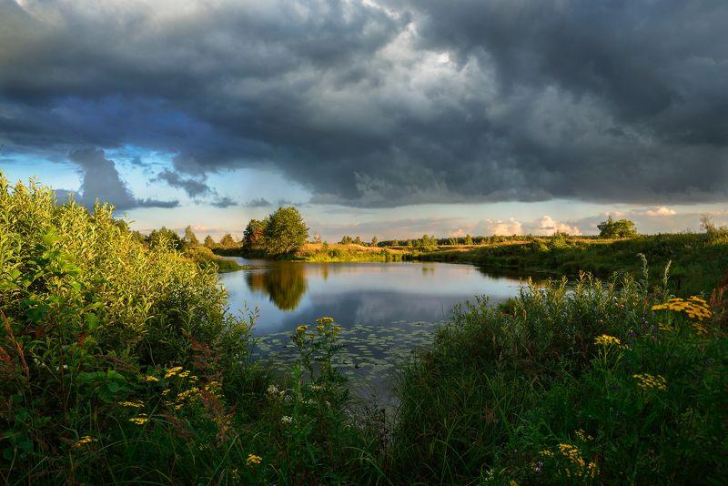 лето,вечер,река,заводь,небо,облака,тучи,отражение,свет летним вечеромphoto preview