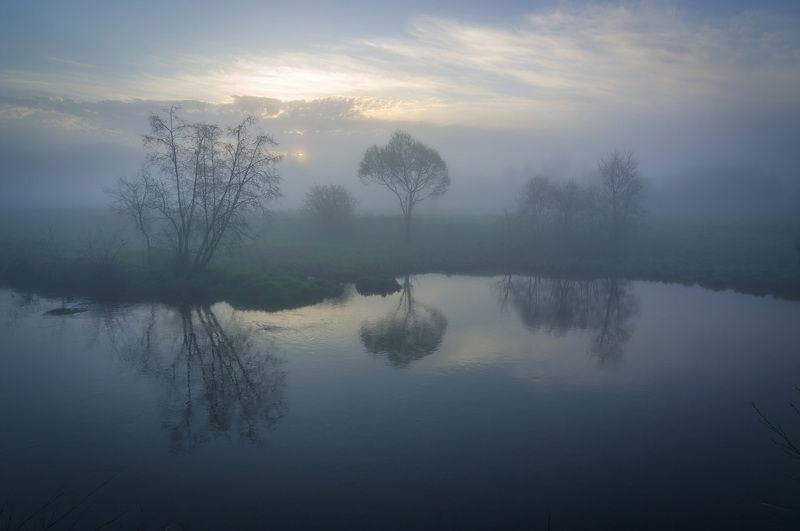 туман, московская область, утро, природа, пейзаж, весна, рассвет, солнце Туманное утроphoto preview