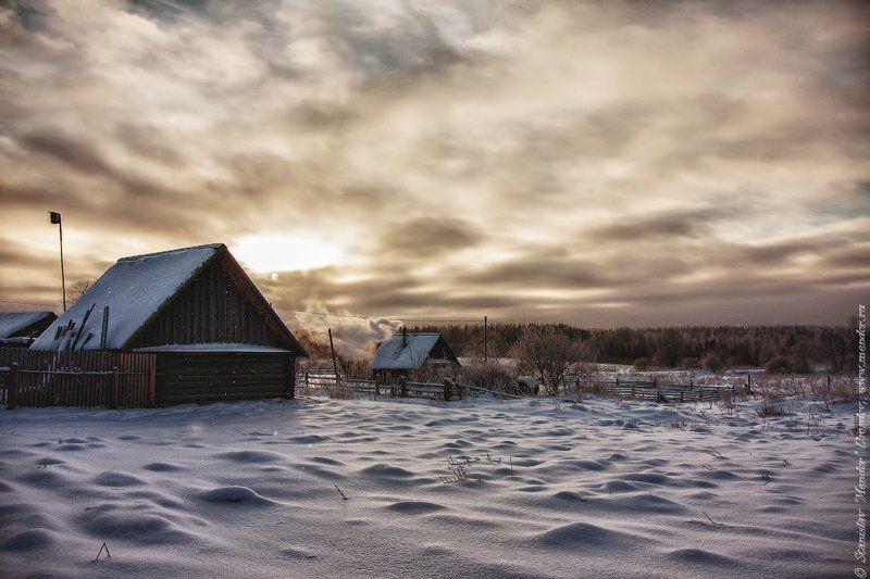 Деревня, Закат, Зима, Россия, Снег Где-то в русской глубинкеphoto preview