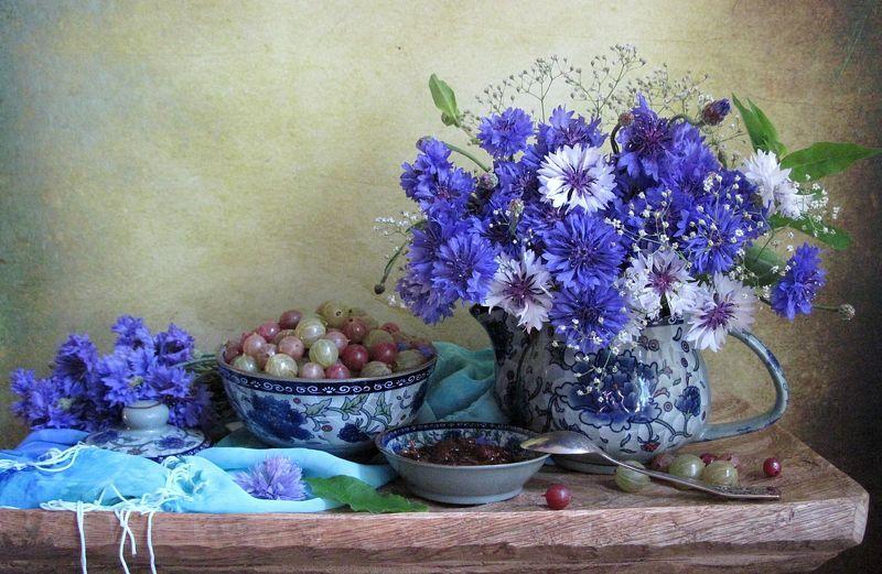 цветы, букет, васильки, ягоды, крыжовник, варенье, керамика, шарф,  С васильками и крыжовникомphoto preview