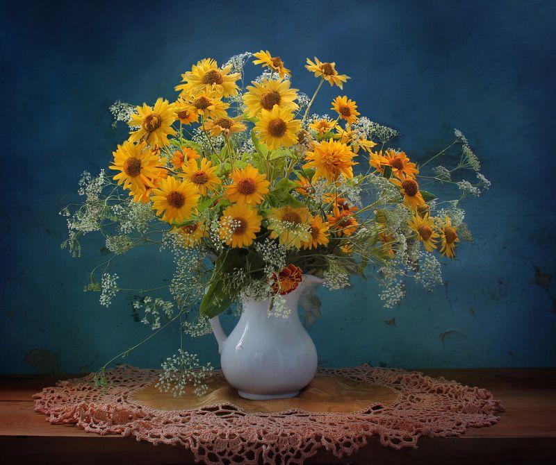 лето, цветы, натюрморт Желтые цветыphoto preview