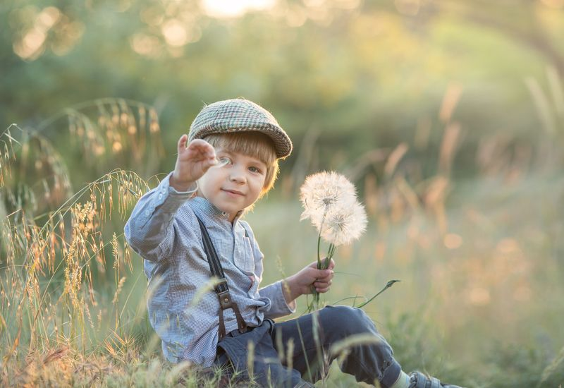 дети, лето, одуванчик, винтаж, ретро, мальчик маленький парашютphoto preview