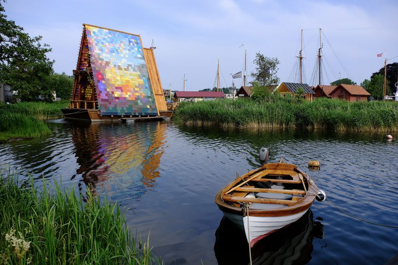 City/Architecture, water, Hope, boat, sea, Fredrikstad, Norway, rainbow, reflection, city, colors, Cathedral of Hope,  Собор Надежды. Cathedral of Hope.photo preview