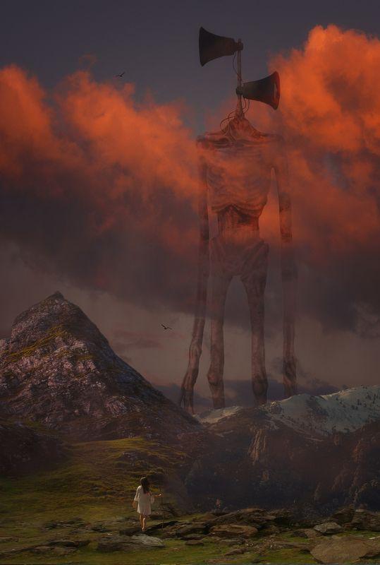 горы, девушка, сиреноголовый *****photo preview