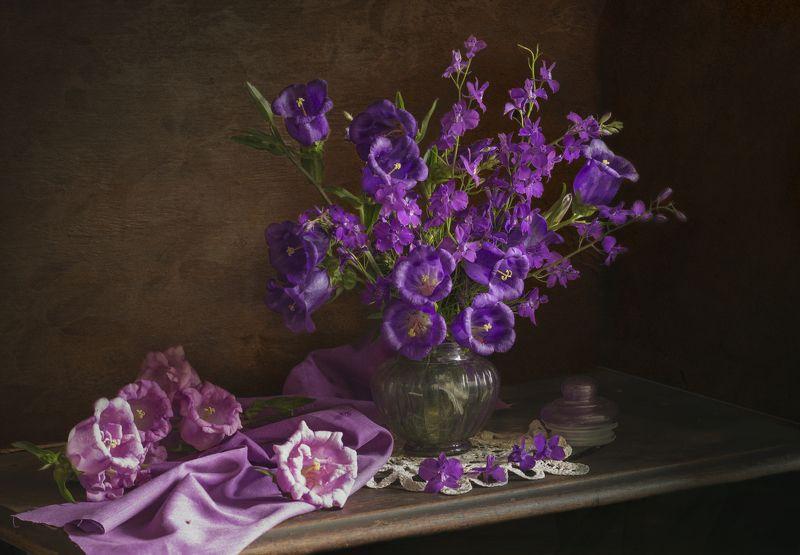 букет цветов, колокольчики, сиреневые, фиолетовые, натюрморт Колокольчикиphoto preview