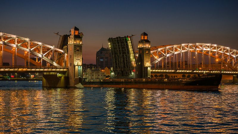 питер, нева, санкт-петербург, мост, большеохтинский мост, ночь, судно, река, Волго-Дон 159photo preview