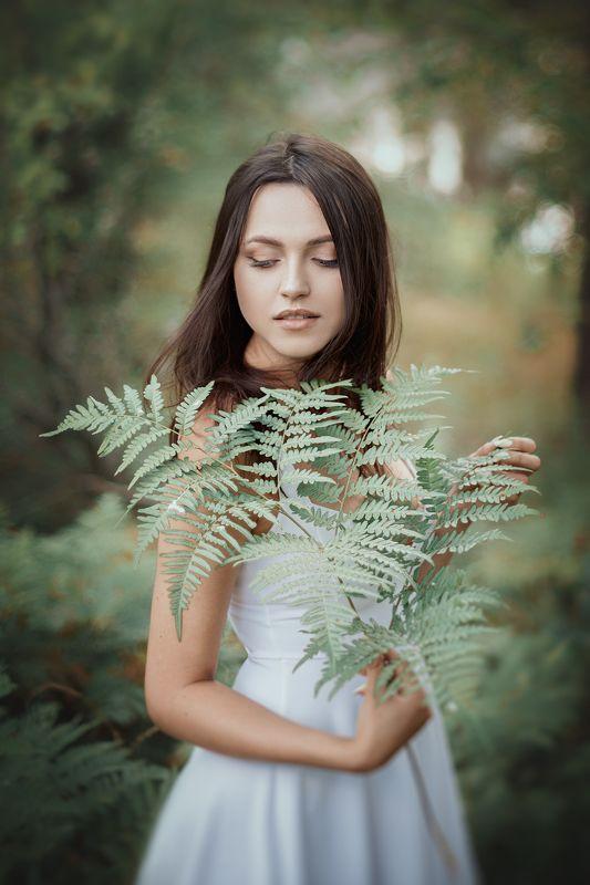 портрет, девушка, лето, лес, папоротник, прогулка, вдохновение, нежность, украина, коростышев, киричанка, фотограф чорный, Нинаphoto preview