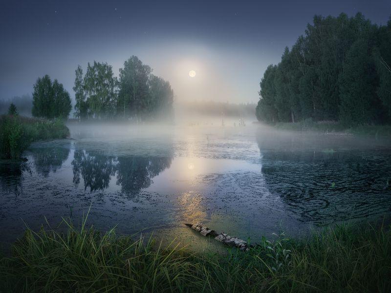 туман, луна, лето Лунная дорожкаphoto preview