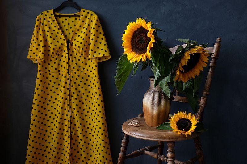 Still life, sunflowers, colors, nature, August, summer, flora, yellow, сeramics, chair, summer dress, Августphoto preview