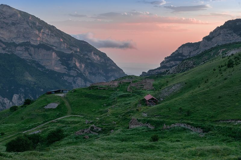 горы, природа, осетия, пейзаж, лето, кавказ, никон, рассвет, Рассвет в горахphoto preview