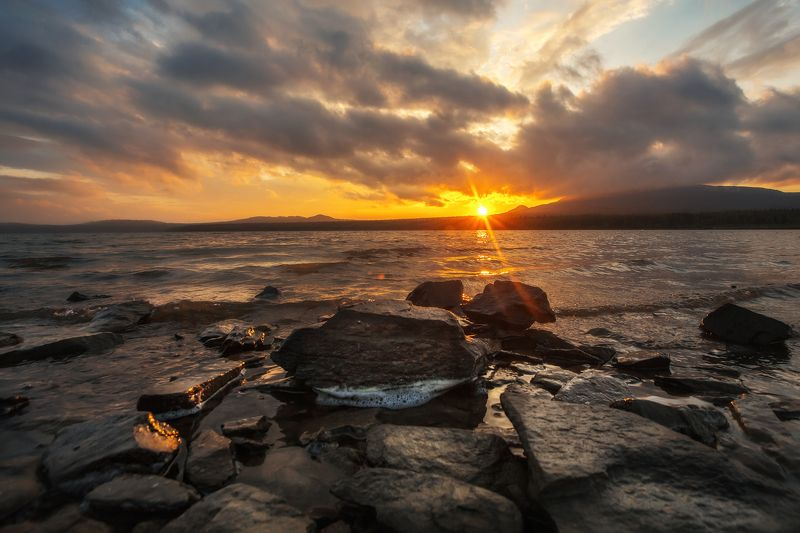 зюраткуль, озеро, закат, солнце Закат на озере Зюраткульphoto preview