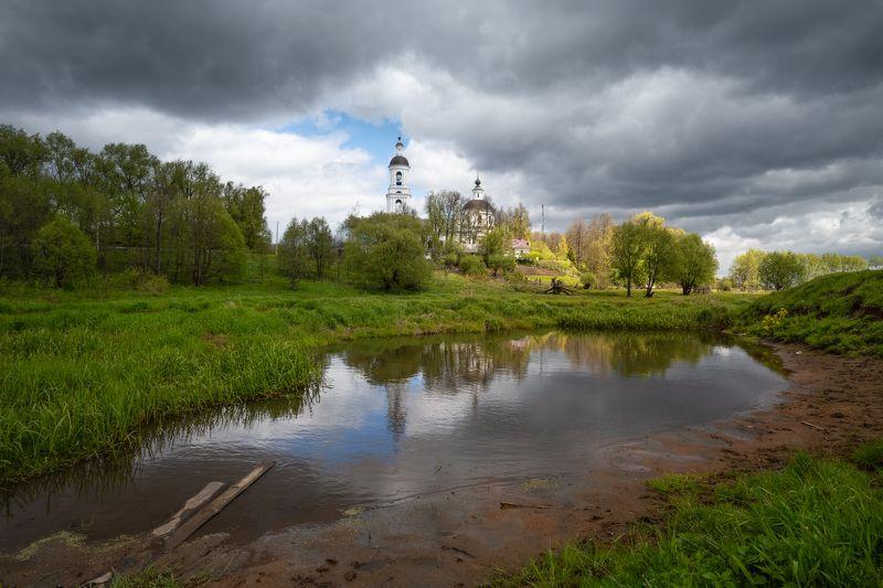 весна,река,небо,облака,тучи,свет,отражение,храм ***photo preview