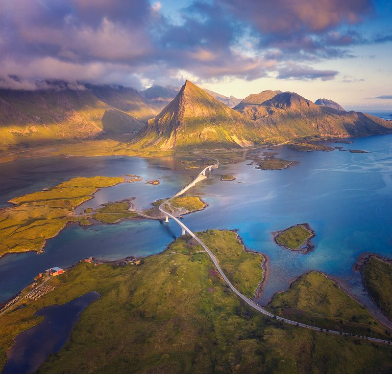 lofoten, лофотены, норвегия, фьорд, панорама, лето, закат, свет Мостикиphoto preview