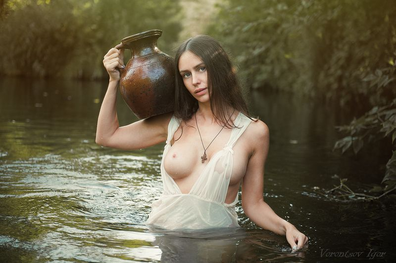 ню, девушка, грудь, обнажённая, красивая, река, природа, голая,nude , эротика photo preview
