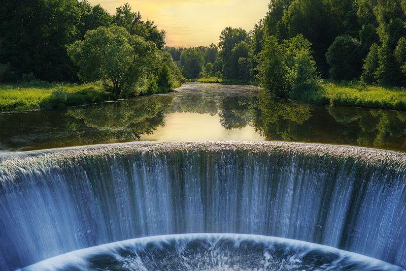 пейзаж, вода, водопад, вечер, закат, лето, река, ландшафт, солнце Прохлада водыphoto preview