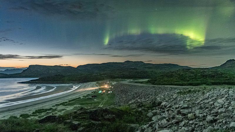 Ночь, Северное сияние, Северный ледовитый океан, сентябрь Однажды в Териберкеphoto preview