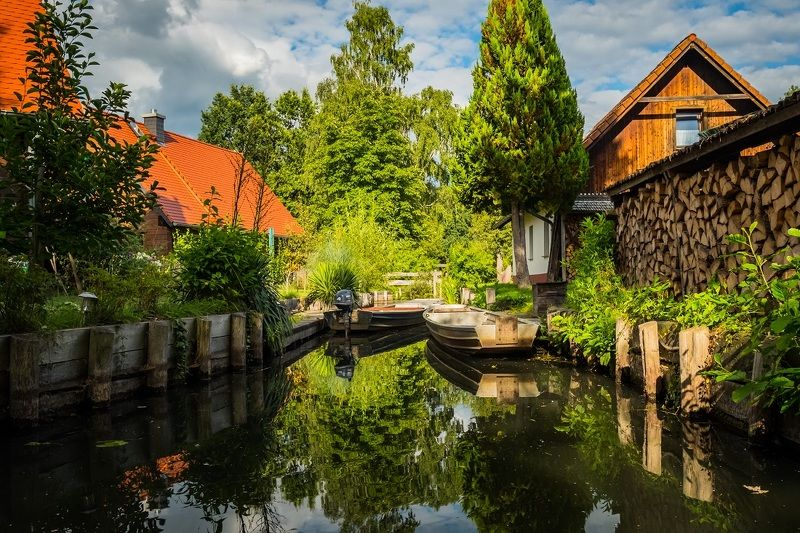landscape, germany, nature, water, river, houses, trees, summer, travel, europe, spreewald, шпревальд, германия, заповедник Spreewald, Germanyphoto preview