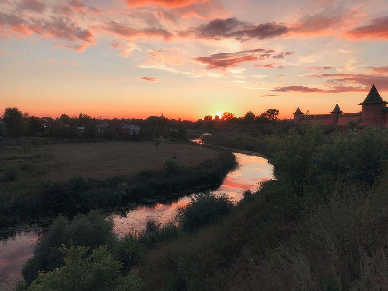 Суздаль, Россия, пейзаж, закат, Золотое кольцо России, природа, река, Каменка Суздальский закатphoto preview