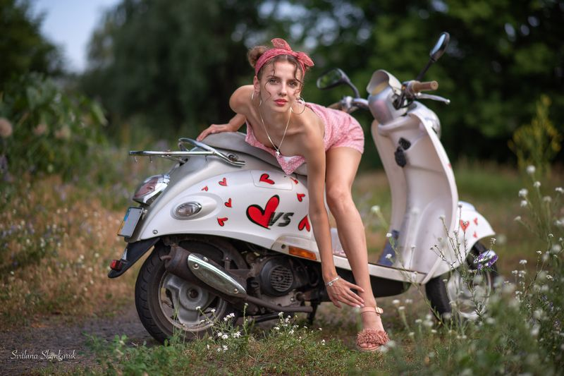 pinup, moto cycle, girl, legs, beautiful girl Attractive in simplicityphoto preview