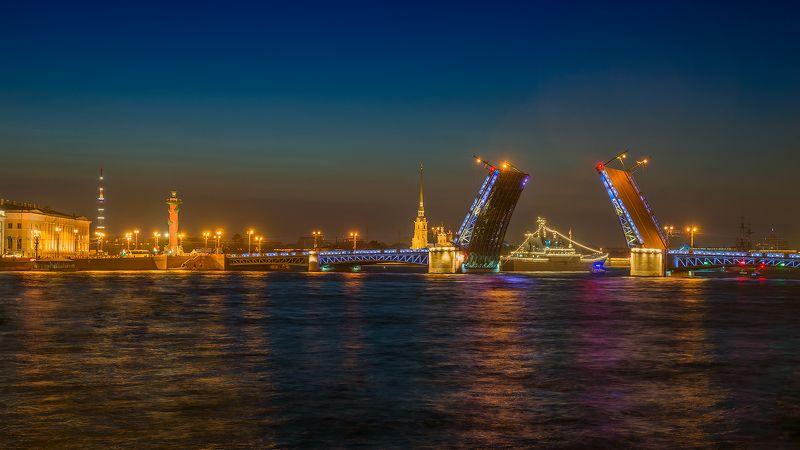 питер, нева, санкт-петербург, мост, ночь, корабль, река, Реки и мосты...photo preview