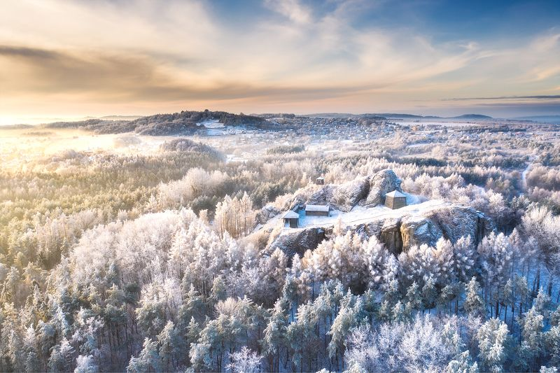 Poland, Jura, Polish Jura, aerial, drone, winter, snow, morning, cloudy, dji, mavic, golden hour Polish Juraphoto preview