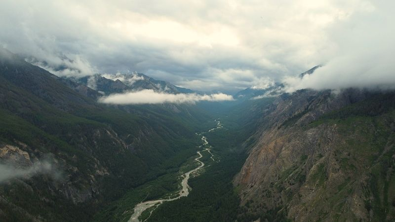 mountains, river, height, clouds, sky, landscape Higher than cloudsphoto preview