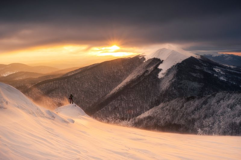 poland, bieszczady, mountains, winter, sunrise, morning, golden hour, window, sun rays, snow, landscape Bieszczady Mountainsphoto preview