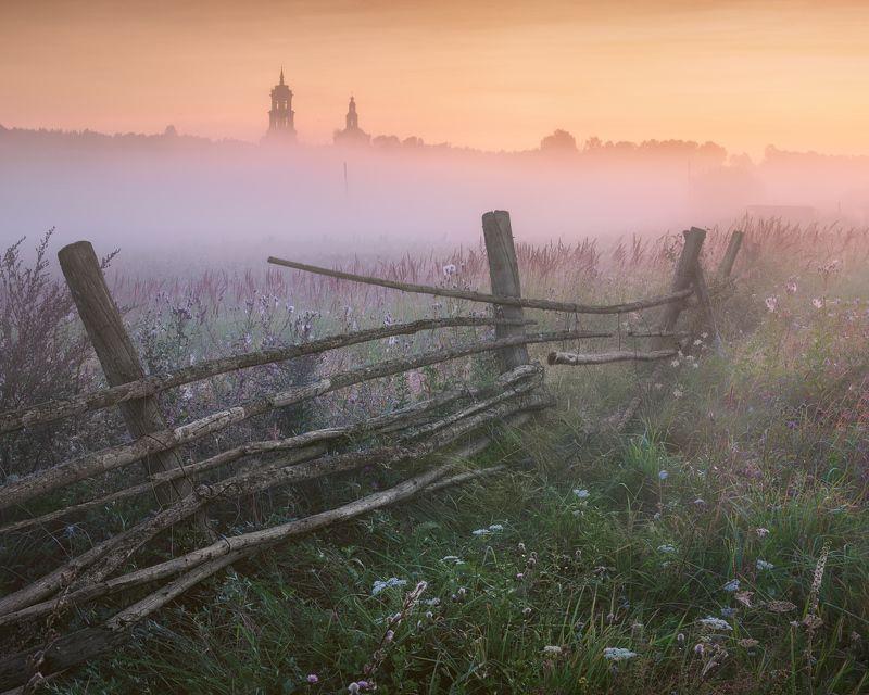 туман, лето, рассвет, изгородь В сиреневом туманеphoto preview