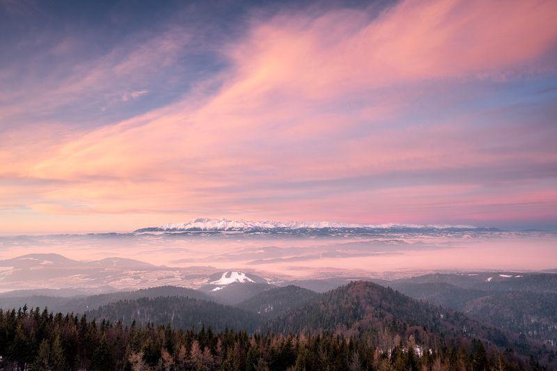 Poland, Tatra Mountains, Gorce Mountains, sunrise, morning, golden hour, burning sky, spring, landscape Sunrise over the Tatra Mountainsphoto preview
