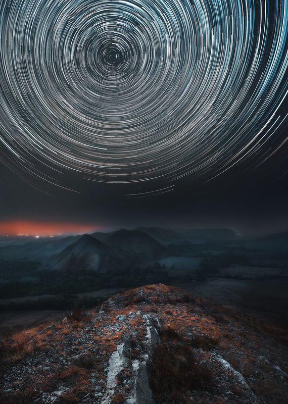 урал, южный урал, горы, долгие горы, пейзаж, звездные треки, ночной пейзаж Андреевские шишкиphoto preview