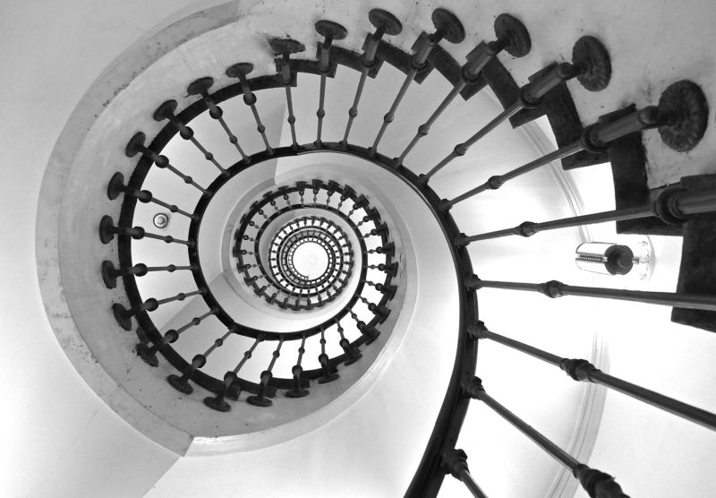 Black & White, staircase, architecture, geometry, lines, Switzerland, city, house, building,  Улиткаphoto preview