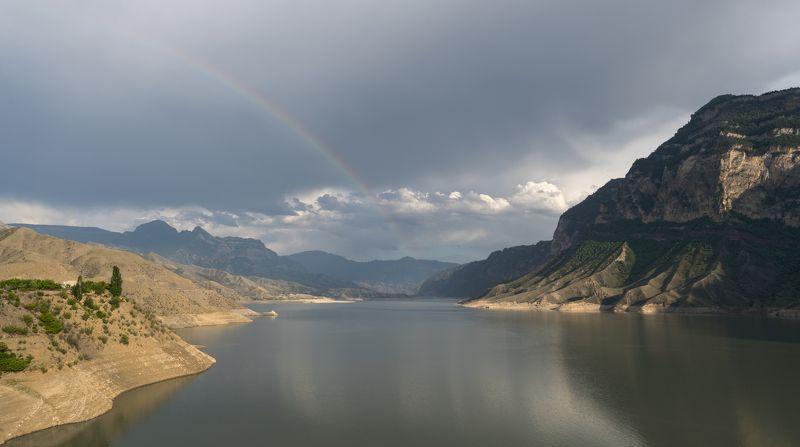водоем, радуга, небо, горы Ирганайское водохранилище.photo preview