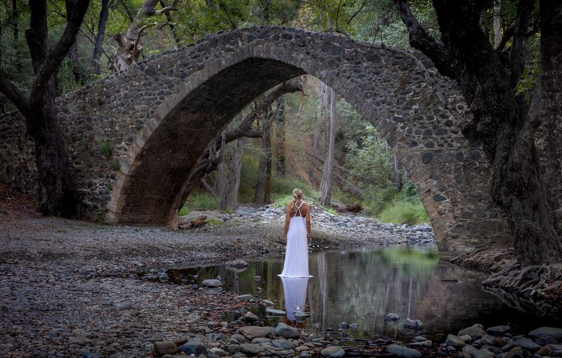 forest, mystery, lady, lake, river, mountain, bridge, arch bridge, cyprus Mysterious Forestphoto preview