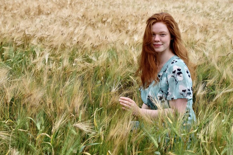 Mood portrait, people, portrait, young woman, Norway, field, august, red hair, colors, nature,  Девушка с волосами цвета осени...photo preview