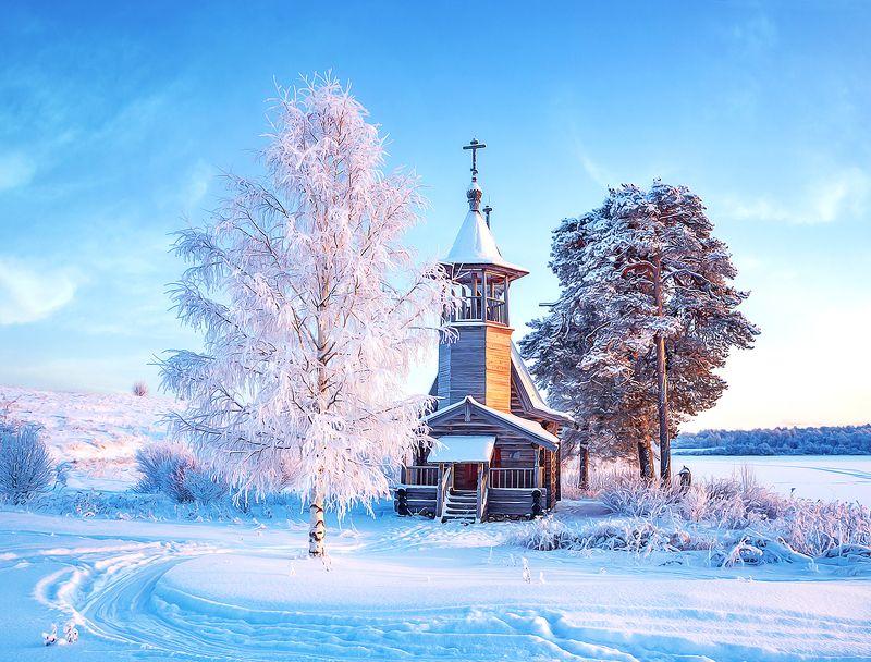 кенозеро, зима, снег, мороз, церковь Кенозерьеphoto preview