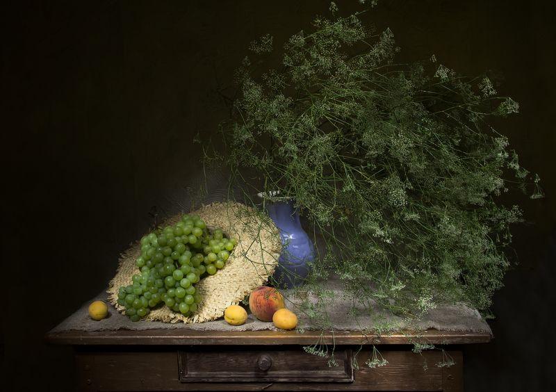 натюрморт, виноград, персик, абрикос Крымский... фото превью