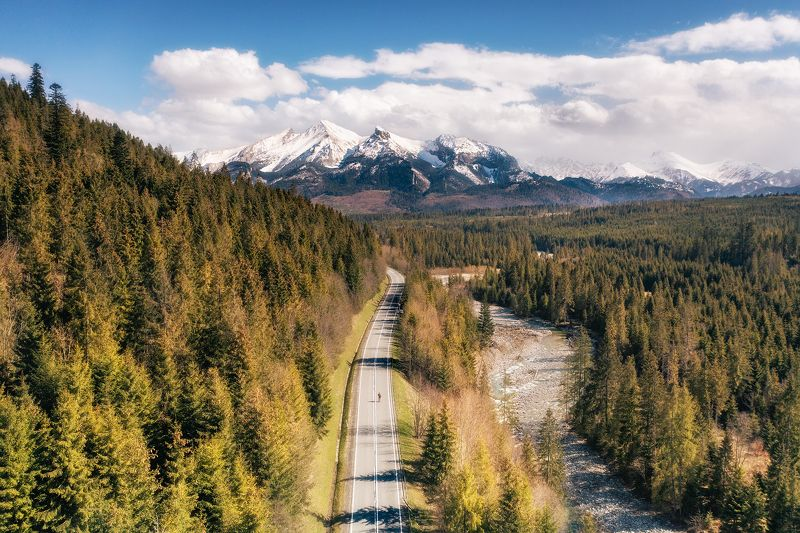 Poland, landscape, aerial, drone, dji, mavic, spring, Tatra Mountains, forest, river, sunlight, snow, cloudy Road to the Tatra Mountainsphoto preview