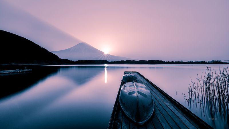 Fuji,Japan,mountain,lake,water,reflection,boat Sunrise that feels hope and tomorrowphoto preview