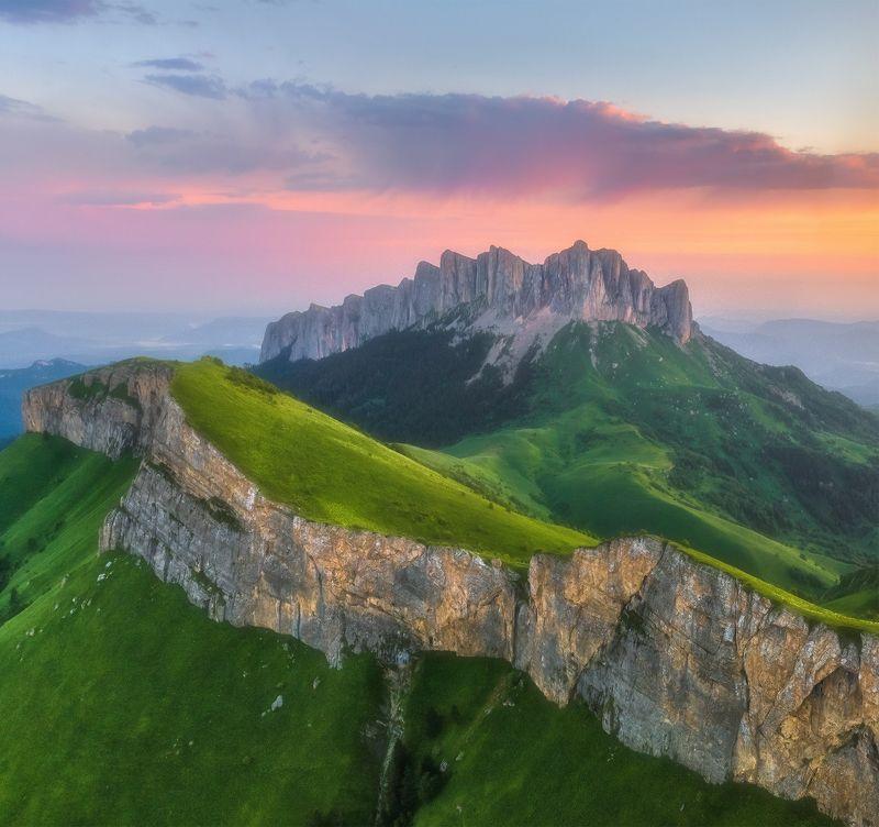 западный кавказ, большой тхач, рассвет, лето, коптер Западный кавказ. Большой Тхач.photo preview