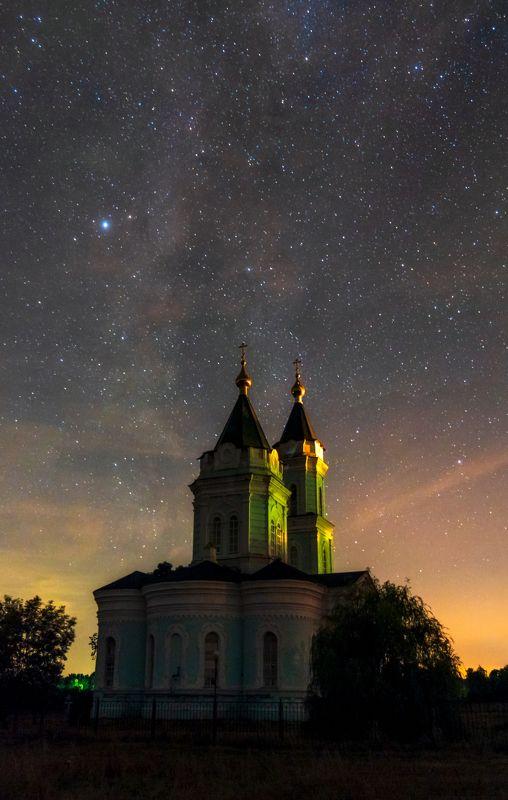 храм, ночь, млечный путь, село булановка, temple, night, milky way, bulanovka village Храм в ночиphoto preview