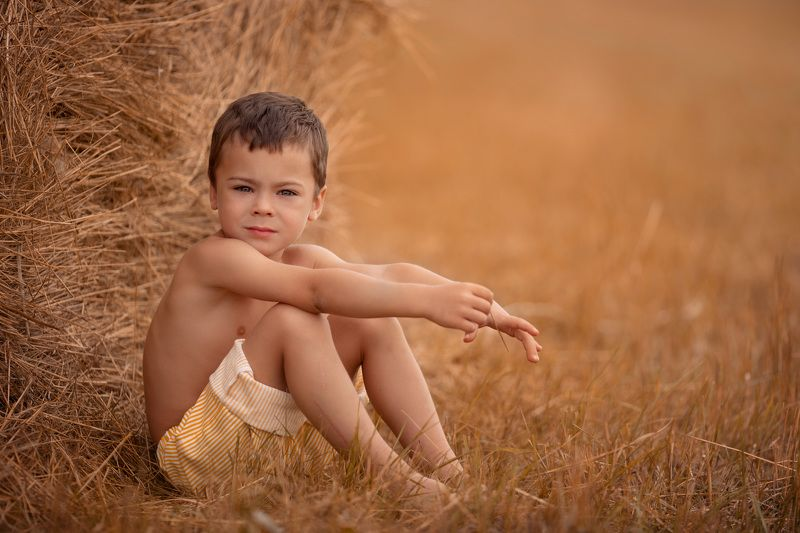 Поле пшеницы, дети В полеphoto preview