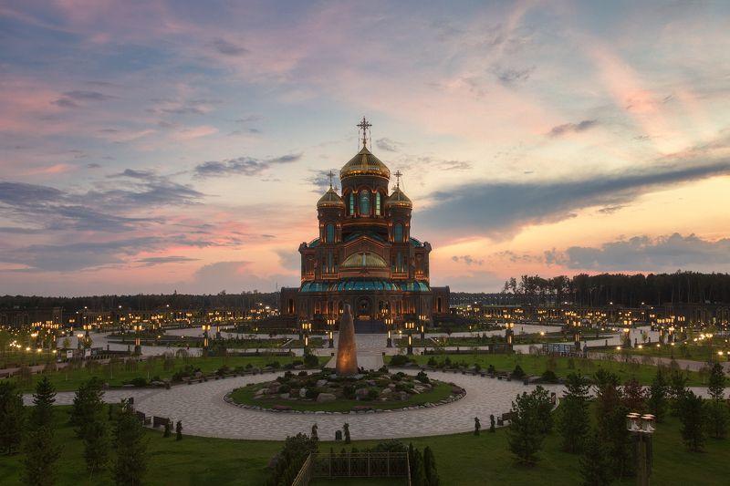 храм, подмосковье, закат Гланый храм Вооружённых сил РФphoto preview
