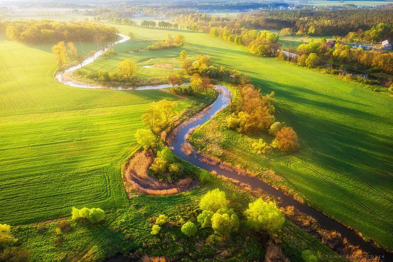 landscape, poland, light, spring, awesome, amazing, sunrise, sunset, lovely, nature, travel, dji, mavic, green, river, village Green World фото превью