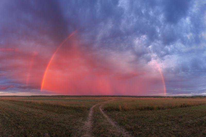 природа, радуга, рассвет, пейзаж, Ивановская область, Россия Радуга на рассветеphoto preview